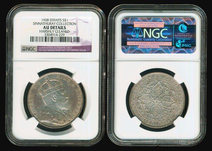 364: Straits Settlements KEVII $1 1908 NGC AU