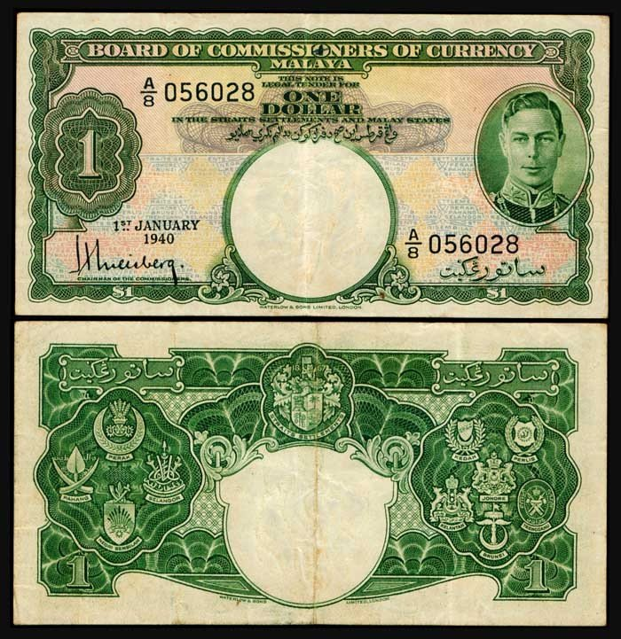 838: Malaya $1 1940 KG VI P4b green VF