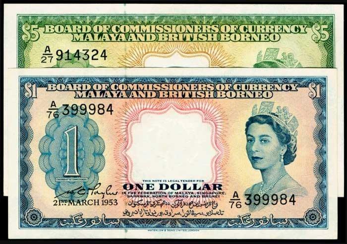 872: Malaya Br Borneo $1 $5 1953 QEII P1a 2a