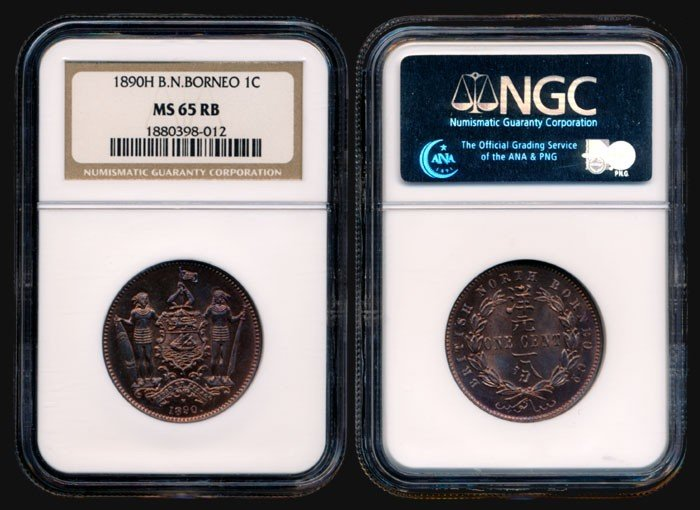4: Br North Borneo 1c 1890H NGC MS65RB