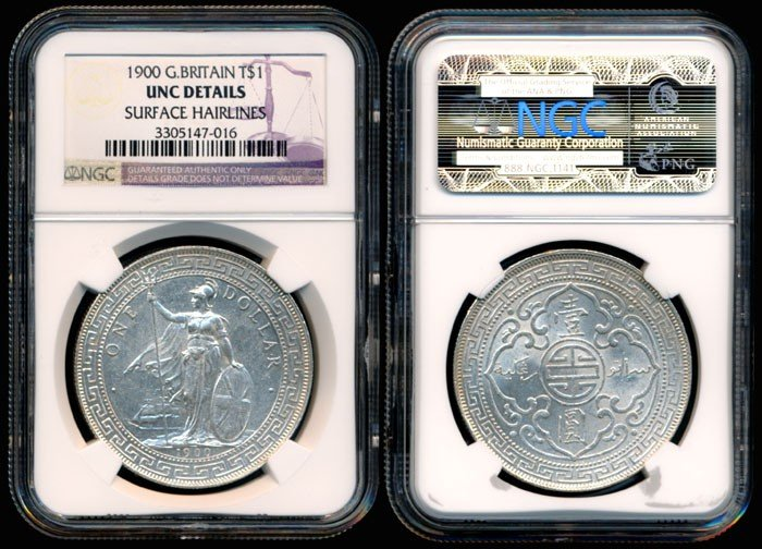 19: British Trade $ 1900 no B or C NGC UNC