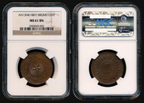 Brunei Cent 1887 NGC MS61BN