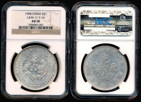 China Empire Dollar 1908 NGC AU50