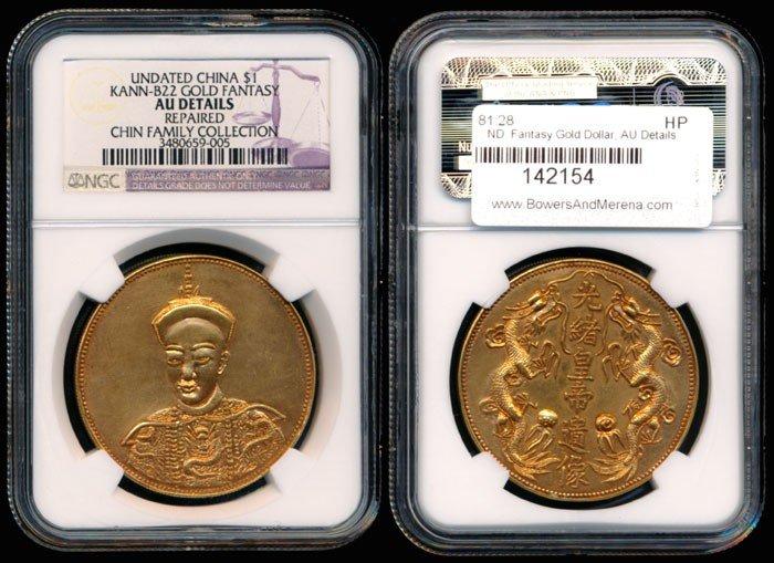 94: China Fantasy Gold Dollar Tung Chih NGC AU