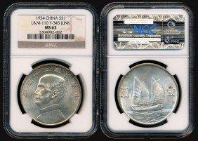 China Republic Dollar 1934 SYS NGC MS63