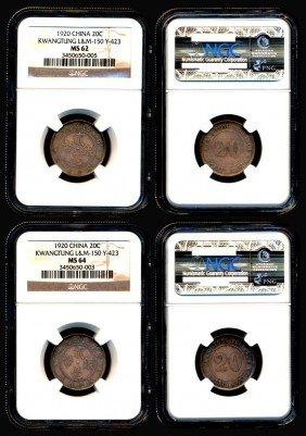 2 China Rep Kwangtung 20c 1920 NGC MS62 MS64