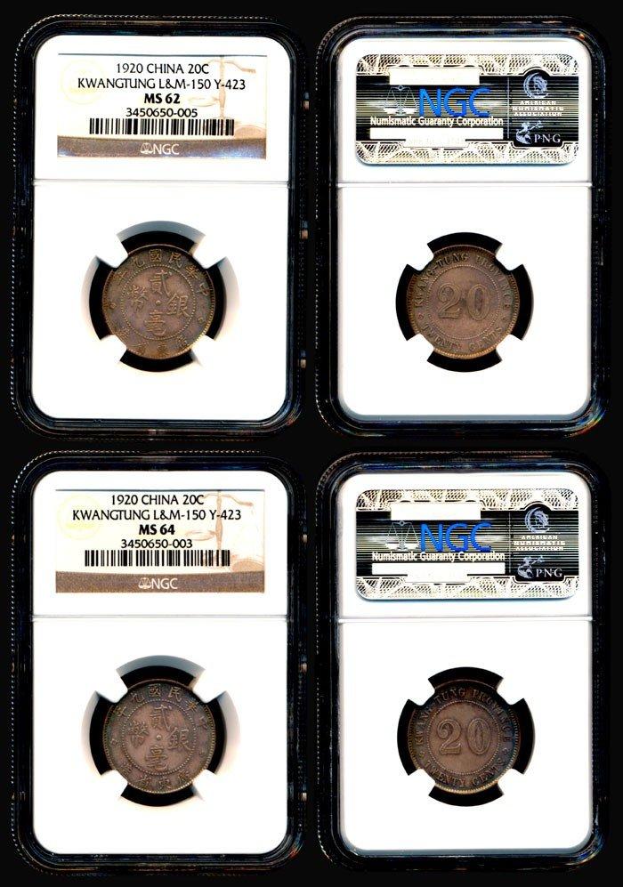 112: 2 China Rep Kwangtung 20c 1920 NGC MS62 MS64
