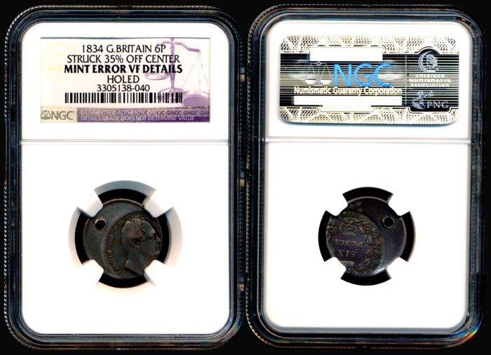 137: Great Britain 6 Pence 1834 error NGC VF
