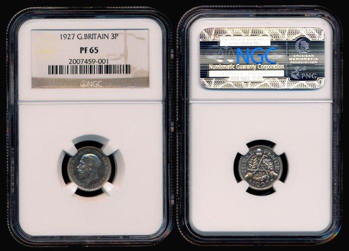 138: Great Britain KGV 3 Pence 1927 NGC PF65