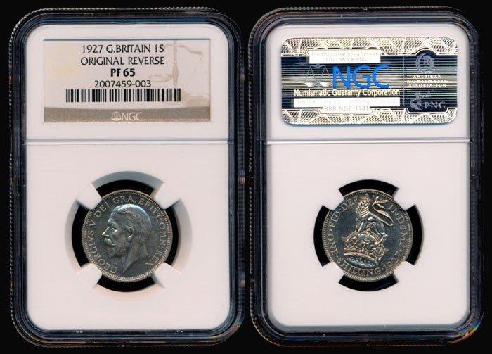 139: Great Britain KGV Shilling 1927 NGC PF65