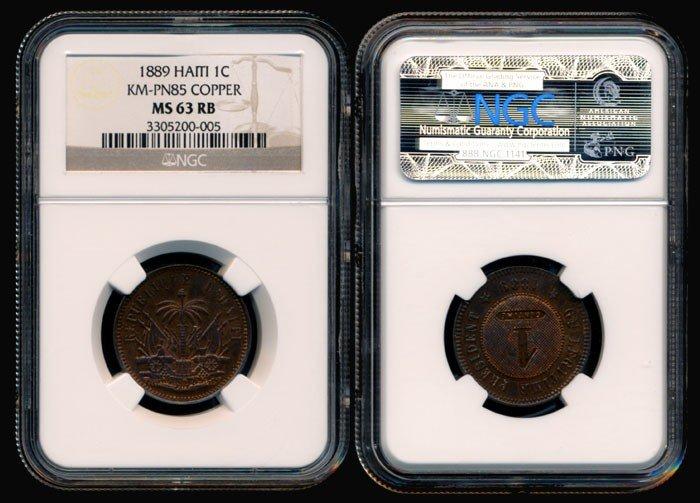140: Haiti Cent 1889  pattern NGC MS63RB