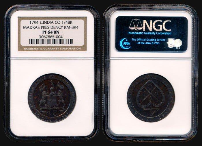 143: India Madras Pres 1/48R 1794 NGC PF64BN