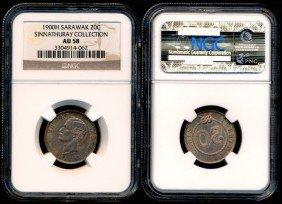 Sarawak C Brooke 20 Cents 1900H NGC AU58