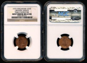 Singapore Cent 1975 Error NGC MS63RB