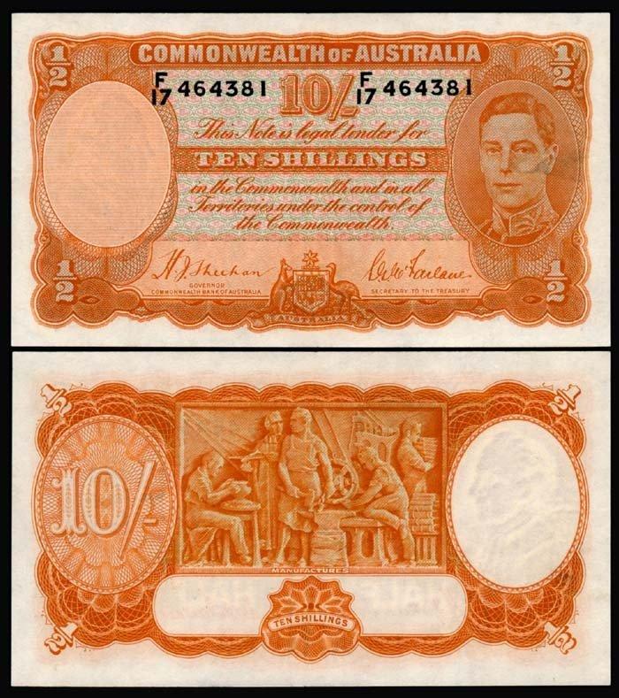 509: Australia 10 Shillings 1939-52 KGVI EF