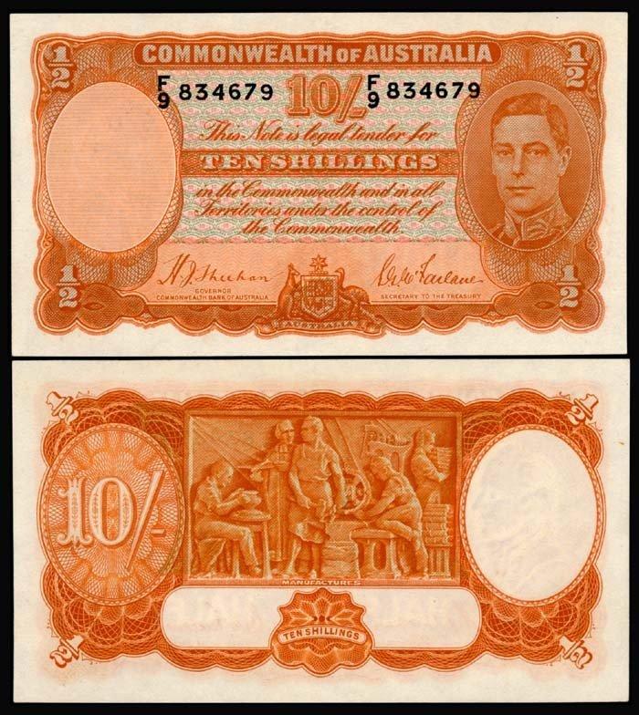 510: Australia 10 Shillings 1939-52 KGVI UNC