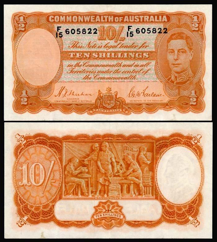 511: Australia 10 Shillings 1939-52 KGVI EF