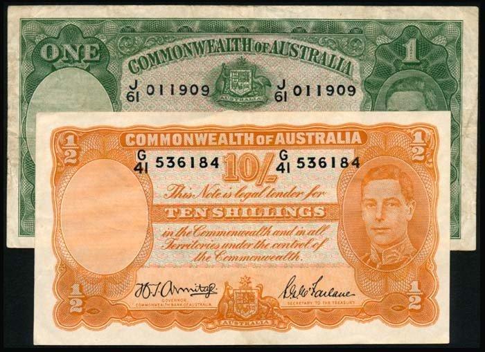 512: Australia 10 Shillings 1 Pound 1938-52 KGVI