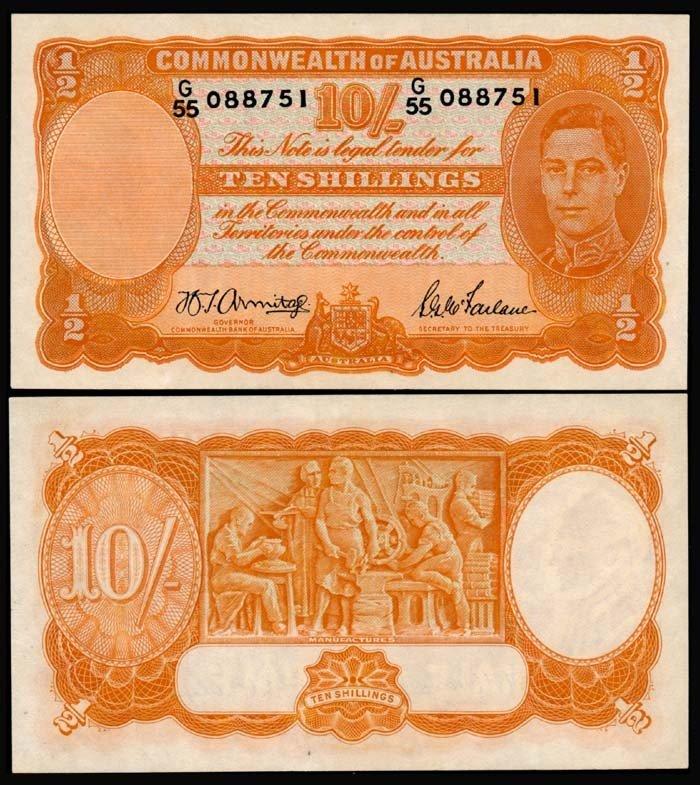 513: Australia 10 Shillings 1939-52 KGVI UNC