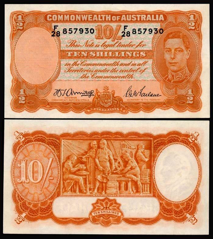 514: Australia 10 Shillings 1939-52 KGVI EF