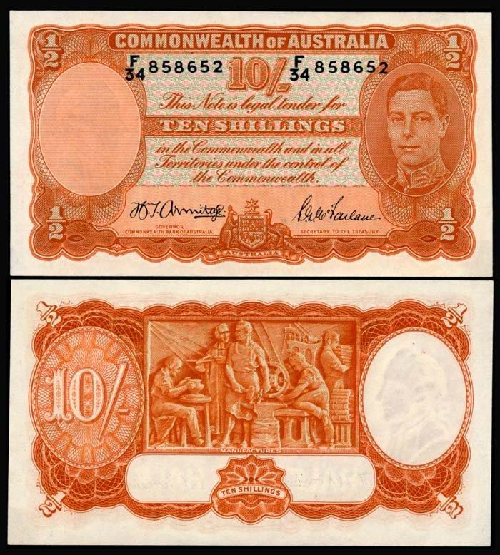 515: Australia 10 Shillings 1939-52 KGVI UNC