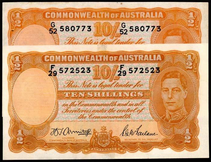 516: Australia 10 Shillings 1939-52 KGVI EF (2)