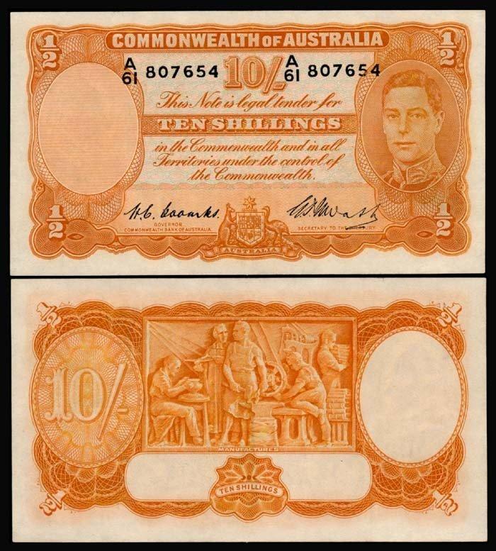 517: Australia 10 Shillings 1939-52 KGVI AU