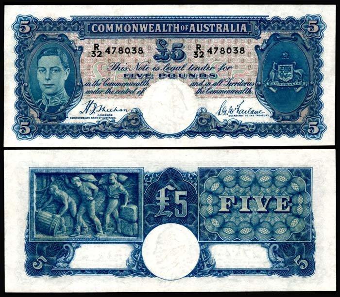 522: Australia 5 Pounds 1939-52 KGVI EF