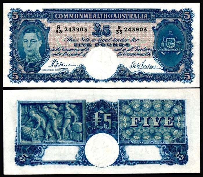 523: Australia 5 Pounds 1939-52 KGVI GEF