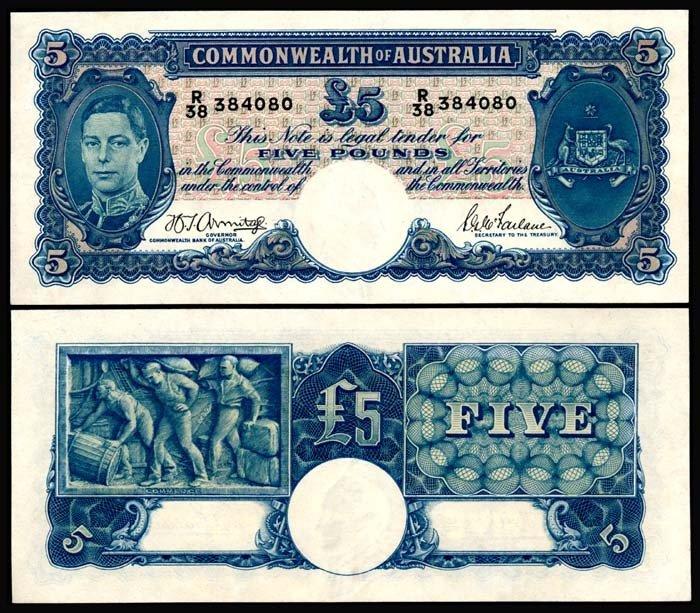 524: Australia 5 Pounds 1939-52 KGVI AU