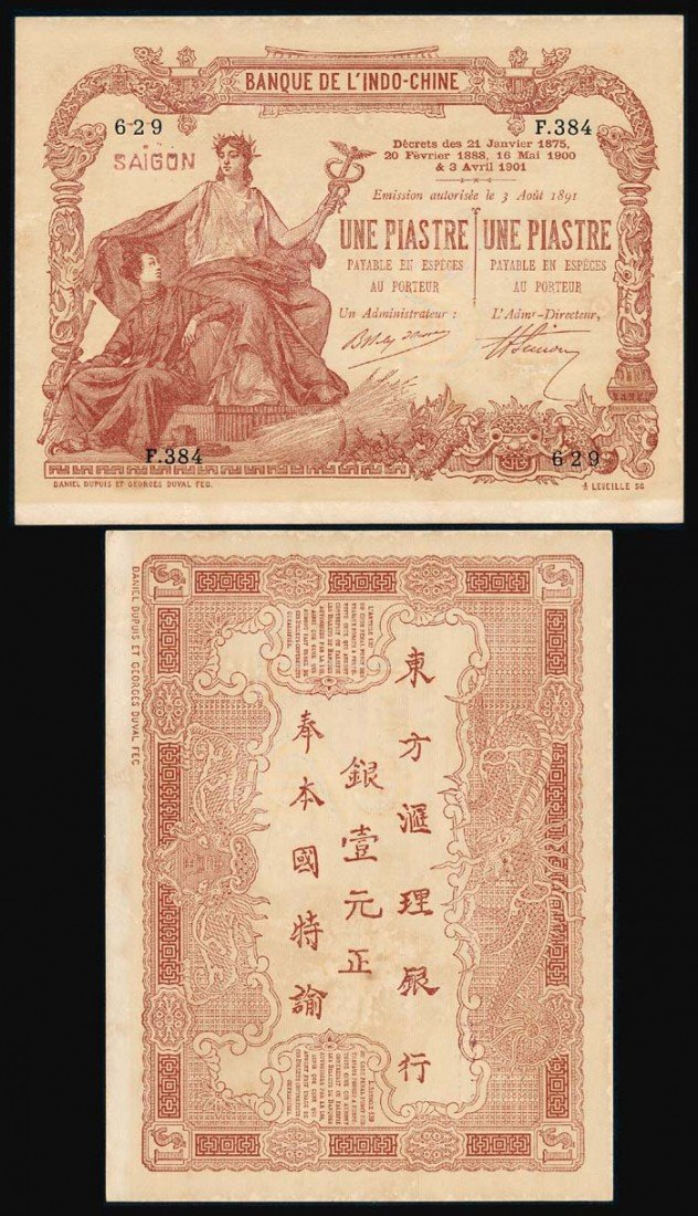699: French Indo-China 1 Piastre 1903-21 1909-21