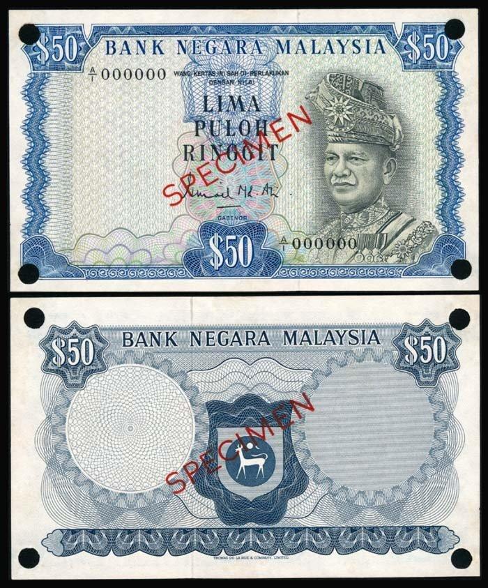 866: Malaysia $50 1972-76 specimen AU-UNC