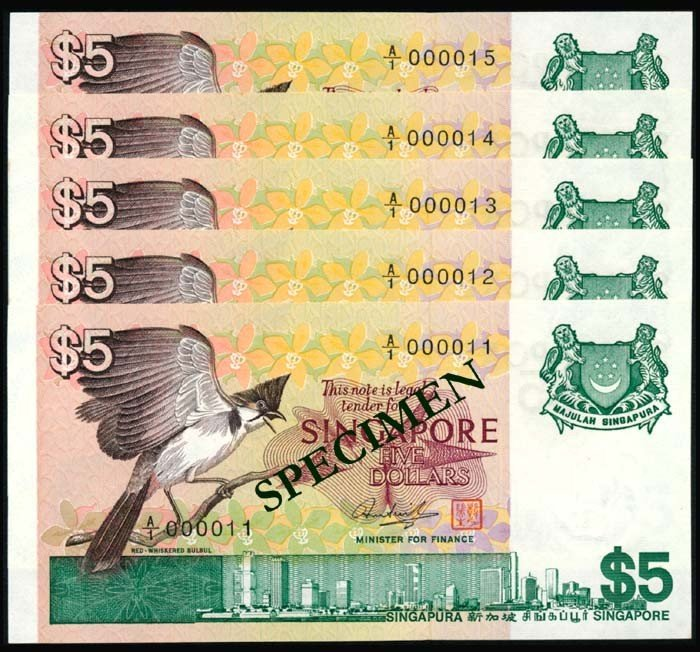 1283: Singapore $5 1976 bird 5 consecutive UNC