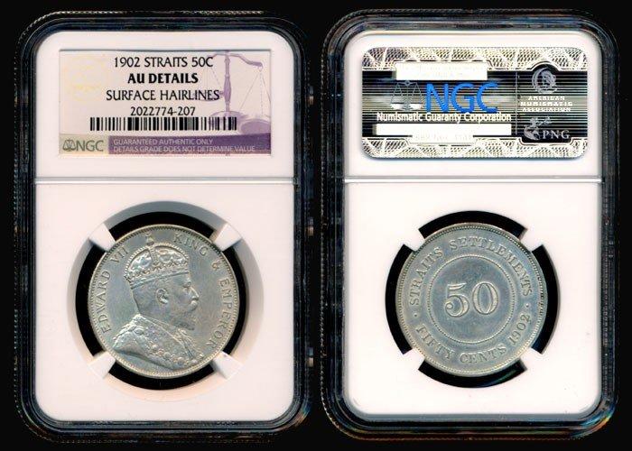 1693: Straits Settlements KEVII 50c 1902 NGC AU