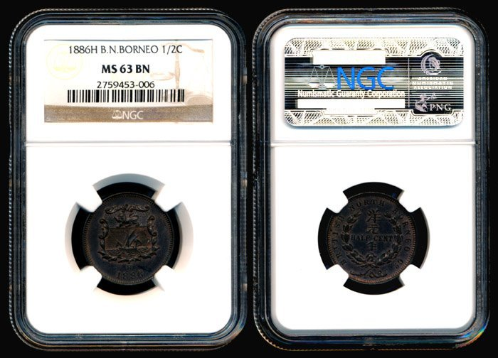 4: Br North Borneo Half Cent 1886H NGC MS63BN