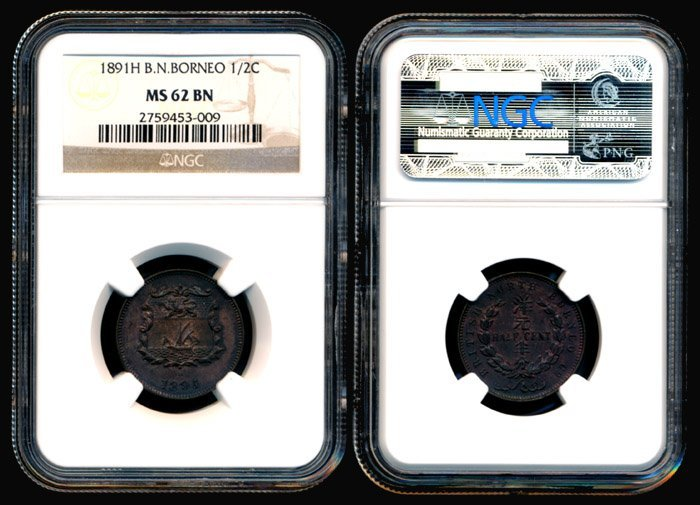 6: Br North Borneo Half Cent 1891H NGC MS62BN