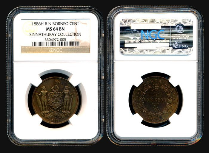 10: Br North Borneo Cent 1886H NGC MS64BN