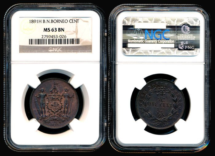 14: Br North Borneo Cent 1891H NGC MS63BN