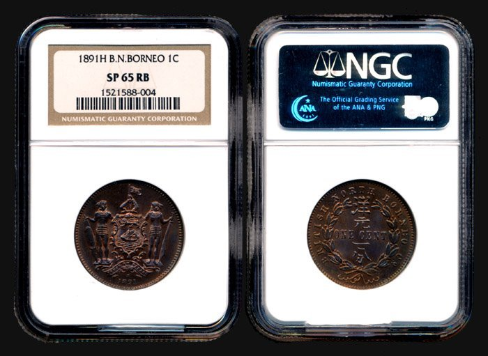 15: Br North Borneo Cent 1891H NGC SP65RB