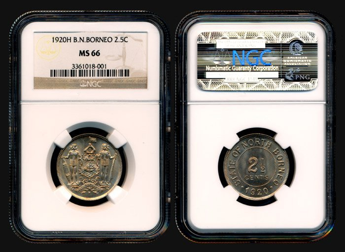 19: Br North Borneo 2-1/2 Cents 1920H NGC MS66