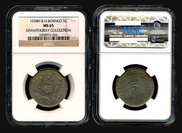 20: Br North Borneo 5 Cents 1928H NGC MS65