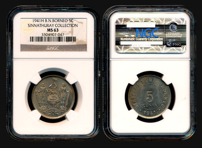 22: Br North Borneo 5 Cents 1941H NGC MS63
