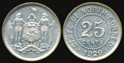 23: Br North Borneo 25 Cents 1929H GEF