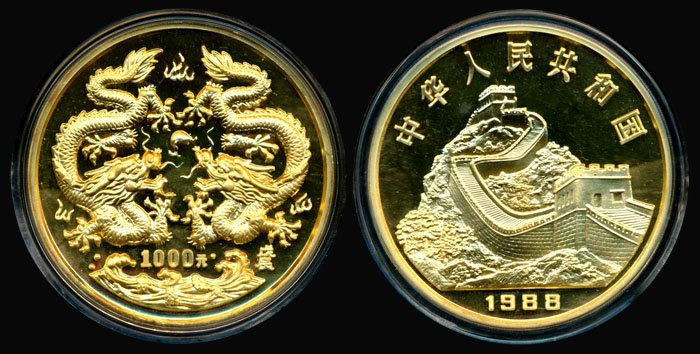 89: China Peoples Rep 1000Y 1988 12oz gold