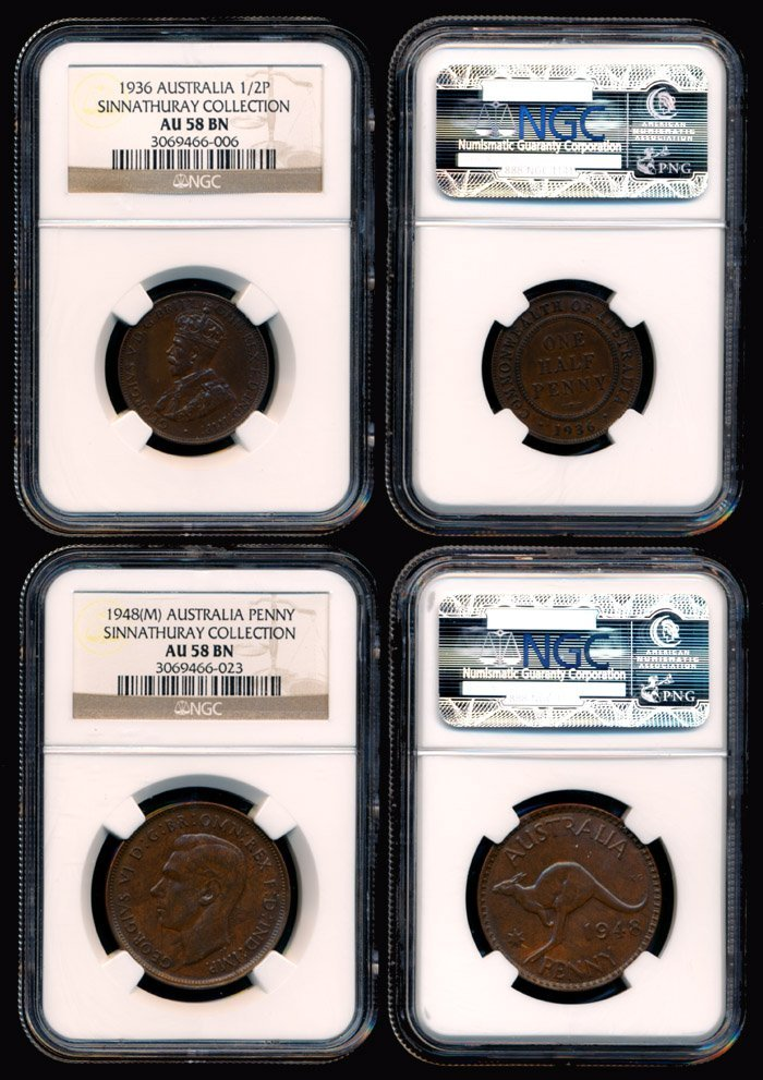 1: 2 Australia KGV 1/2P 1936 KGVI 1P 1948M NGC