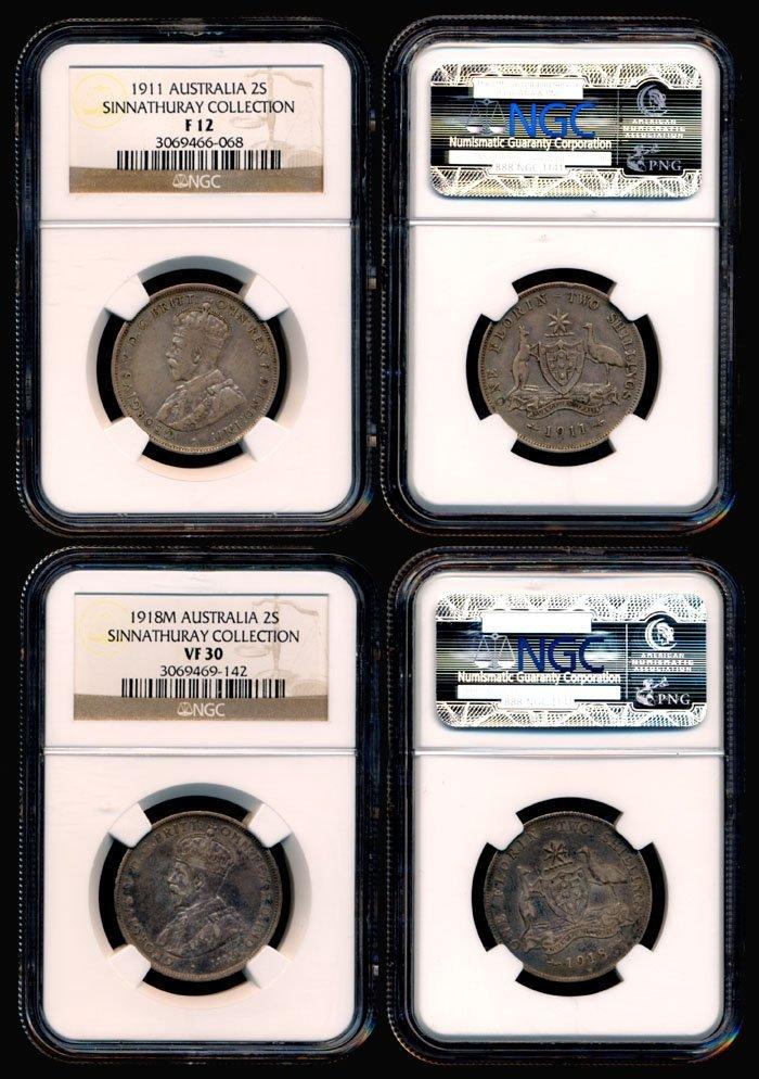 4: 2 Australia KGV 2S 1911 1918M NGC F12 VF30