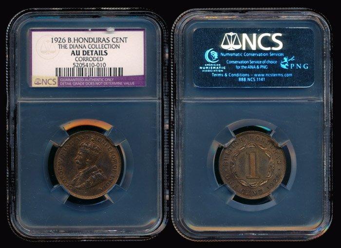 5: British Honduras KGV Cent 1926 NGC AU