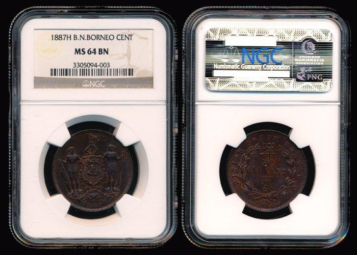 12: British North Borneo Cent 1887H NGC MS64BN
