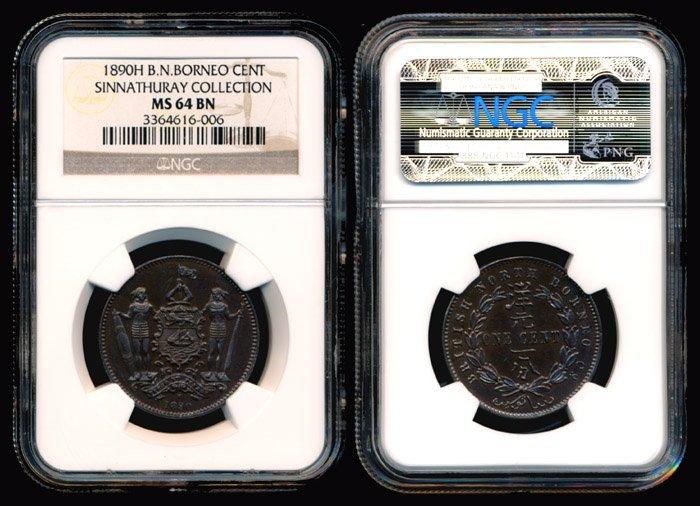 14: British North Borneo Cent 1890H NGC MS64BN