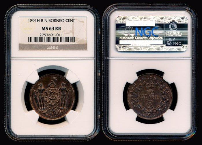 16: British North Borneo Cent 1891H NGC MS63RB